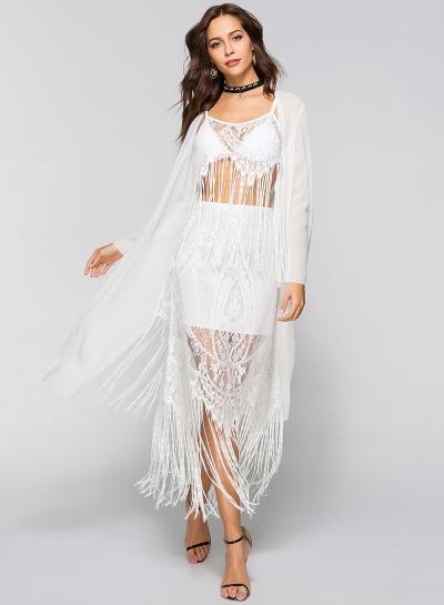 Open Front Tassel Lace Splicing Bikini Cover-ups