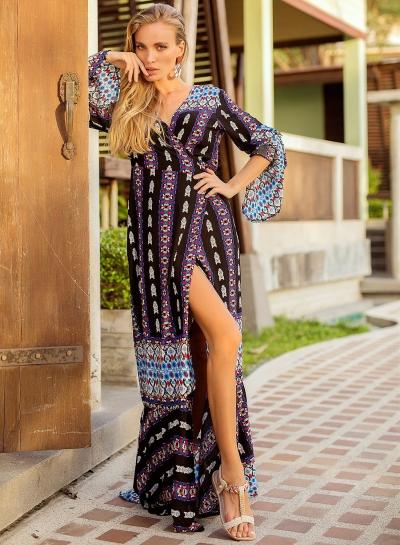V Neck Flare Sleeve Printed Slit BOHO Maxi Dress