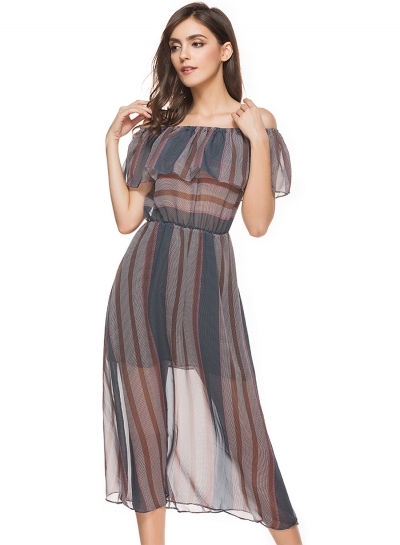 Off Shoulder Striped Printed See-Through Flounce Dress