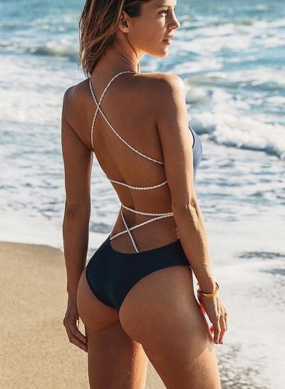 Back Cross Strap One Piece Swimsuit