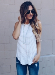 Striped Printed Irregular Tee Tank Top