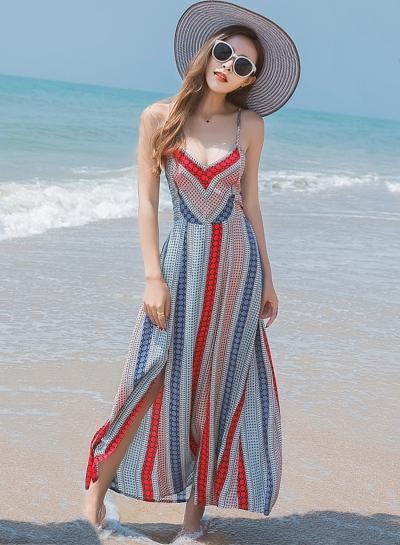 Slit Backless Lace up BOHO Maxi Dress