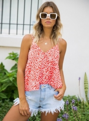 Spaghetti Strap Off Shoulder Floral Printed Tank Top