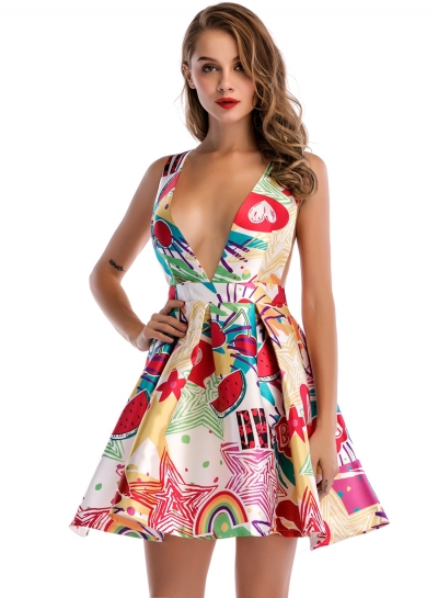Deep V Neck Backless Floral Printed Mini Dress