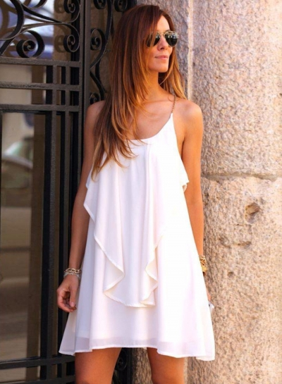 Fashion Spaghetti Strap Backless Sleeveless Dress