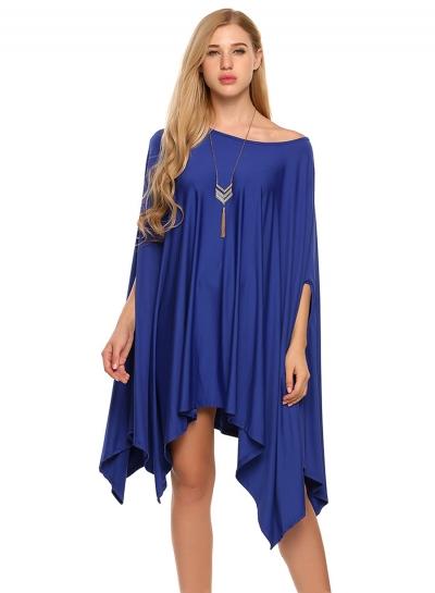 Plus Size Batwing Sleeve Irregular Day Dress