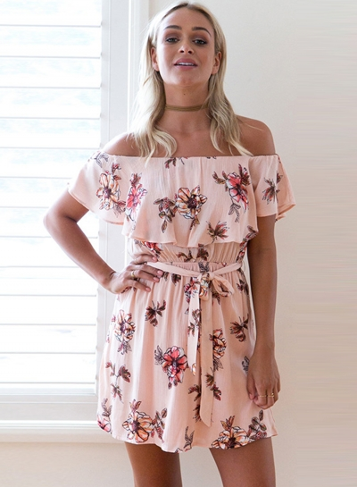 Off the Shoulder Floral Printed Flounce Day Dress