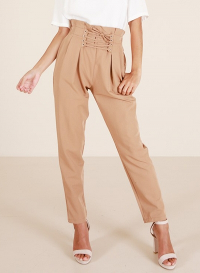 Fashion High Waist Lace up Loose Harem Pants