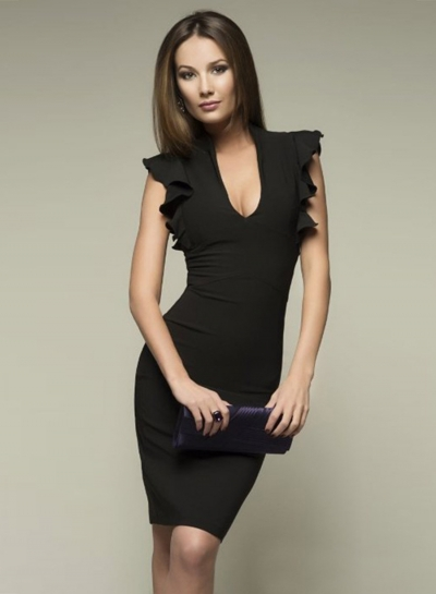 Fashion Deep V Neck Flounce Sleeve Bodycon Dress
