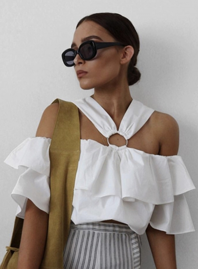 Fashion Halter Off Shoulder Flounce Sleeve Blouse