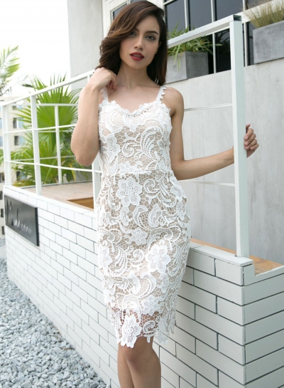 Fashion Spaghetti Strap Lace Skinny Dress