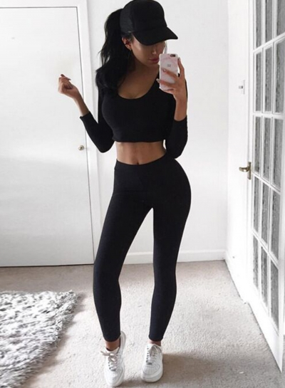 Fashion Long Sleeve Crop Top 2 Piece Pants Set
