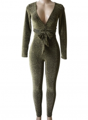 225767cf6a6 Deep V Neck Long Sleeve Slim Fit Jumpsuit with Belt - STYLESIMO.com