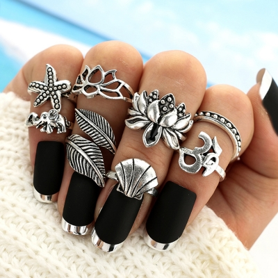 8 Pieces Alloy Leaf Finger Rings Multiple Sets Of Rings STYLESIMO.com