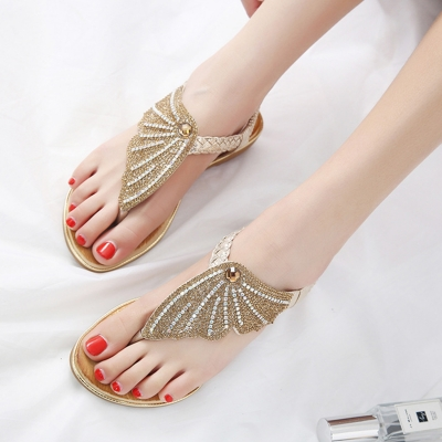 Fashion Casual Crystal T-Strap Thong Flat Sandals