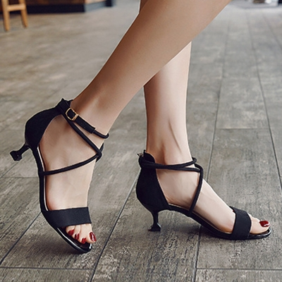 Open Toe Lace up Heels STYLESIMO.com