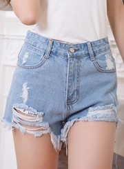High Waist Distressed Cutoff Washed Denim Shorts
