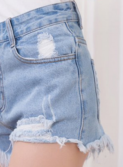 High Waist Distressed Cutoff Washed Denim Shorts stylesimo.com