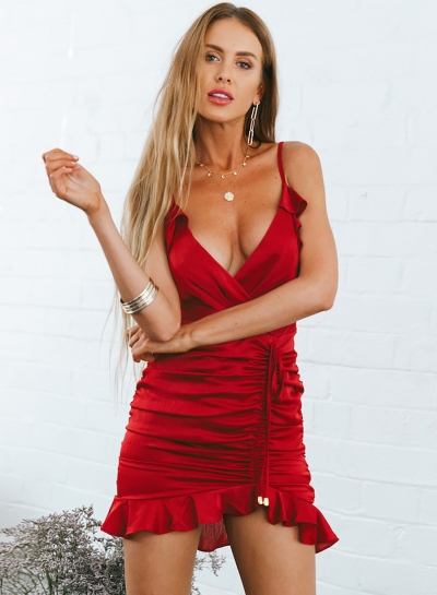 Flounce Spaghetti Strap Backless Asymmetric V Neck Mini Dress