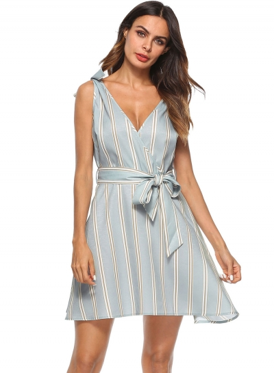 Fashion Sexy Sleeveless Striped Backless V Neck Mini Dress