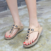 Fashion Gold Bohemia Summer Beach Thong Flat Sandals With Beading