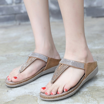 Khaki Bohemia Summer Beach Thong Flat Sandals With Crystal