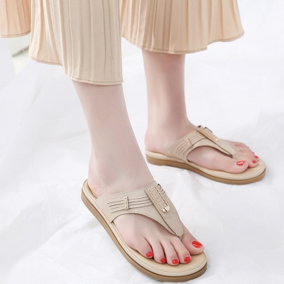 Fashion Apricot Bohemia Summer Beach Thong Flat Sandals