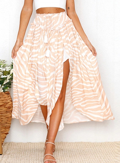 Fashion  Printed  Slit Skirt with Belt