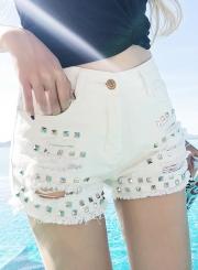 Fashion Washed and Brushed Rivet Hole Denim High Waist Shorts
