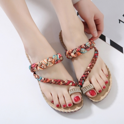 Fashion Bohemia Summer Beach Thong Flat Sandals With Crystal