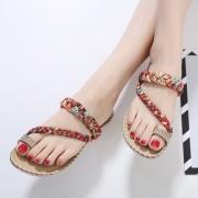 8eadd20bce62 ... Fashion Bohemia Summer Beach Thong Flat Sandals With Crystal ...