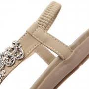 Fashion Summer Bohemia Beach Thong Flat Sandals With String Bead