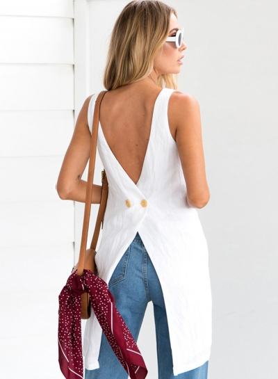 Sexy Pure Color Asymmetry Sleeveless Backless Round Neck Blouse