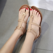 Fashion Summer Beach Thong Wedges Heel-covered Sandals With Zipper