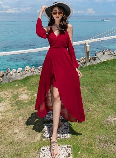 Fashion Sexy Beach Spaghetti Strap Off Shoulder V Neck Dress