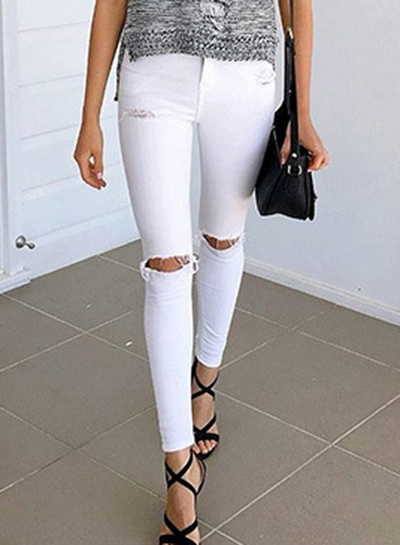 Fashion Slim High Waist Skinny Knee Hole Denim Pencil Pants