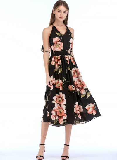 Fashion Sexy Floral Printed Sleeveless Backless V Neck Midi Dress