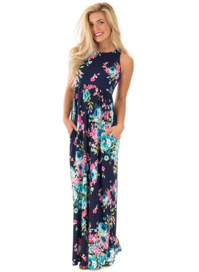 Summer Sexy Floral Printing Off The Shoulder Round Neck Dress