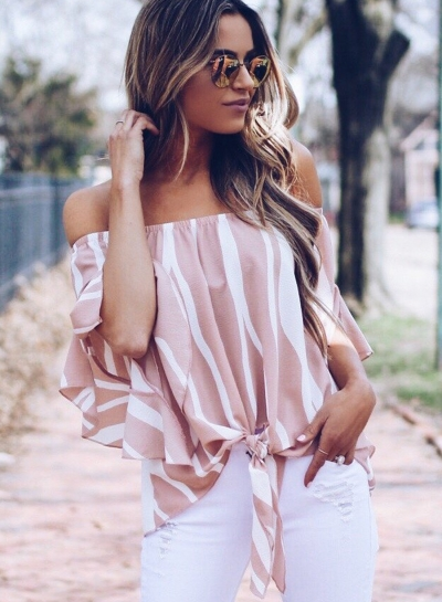Fashion Sexy Loose Striped Flare Sleeve Off The Shoulder Blouse