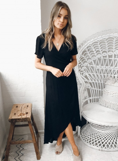 Black Short Sleeve Crossover Tummy Control Slit Design Dress
