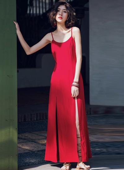 Fashion Solid Vintage Spaghetti Strap Backless Slit Maxi Dress