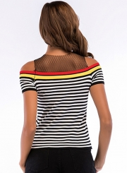 Striped Mesh Short Sleeve Off  Shoulder Sweater Tank Top