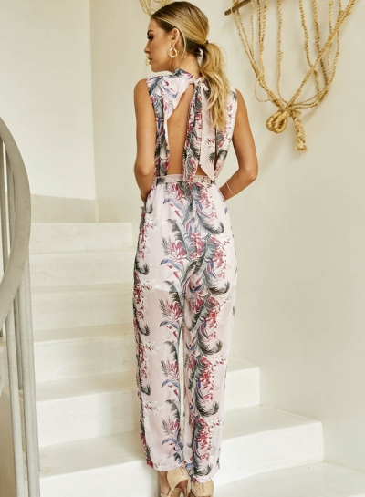 Floral Printed Chiffon Round Neck Women Wide leg Jumpsuits With Ribbons