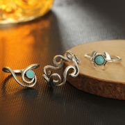 Fashion Alloy Circle Round 6 Pieces Finger Rings Multiple Sets Of Rings