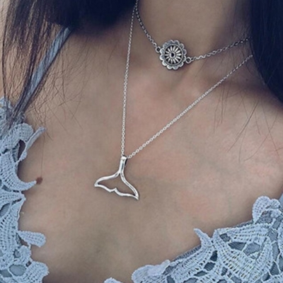 Fashion Bohemian Silver Bilayer Women Pendant Necklace