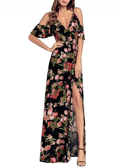Floral Printed Lace-up Strap Off The Shoulder Short Sleeve Slit Maxi Dress