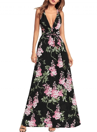 Fashion Floral printed Tie Waist Sleeveless V Neck Maxi Dress