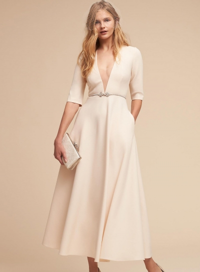 Fashion Sexy Solid Half Sleeve V Neck Midi Dress With Pockets