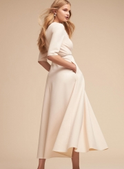 a4aa4d2d9d4d ... Fashion Sexy Solid Half Sleeve V Neck Midi Dress With Pockets ...
