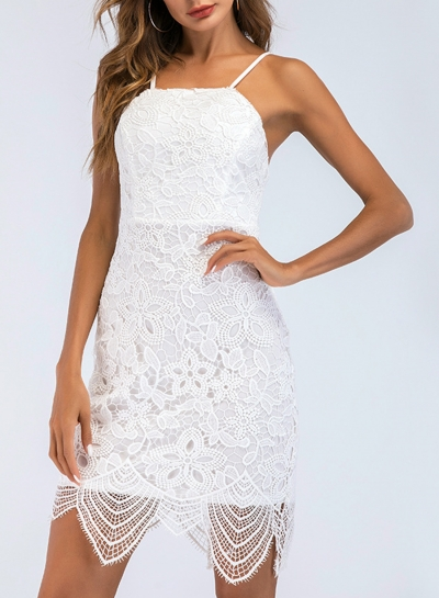 Fashion Solid Lace Spaghetti Strap Sleeveless Backess Women Bodycon Dress